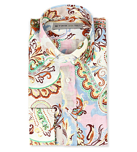 ETRO Paisley linen slim-fit single-cuff shirt (Multi