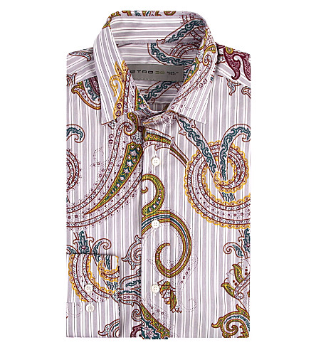ETRO Paisley and stripe print shirt (Purple