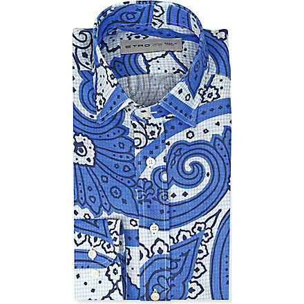 ETRO Paisley-print slim-fit single-cuff shirt (Blue
