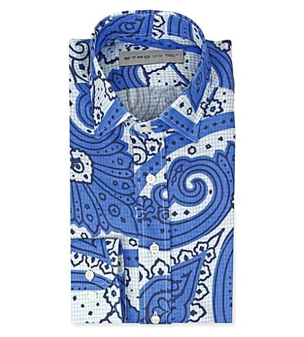 ETRO Paisley-print slim-fit single-cuff shirt (Blue