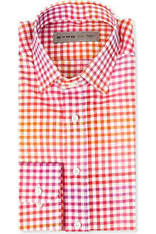 ETRO Two-toned checked regular-fit single-cuff shirt