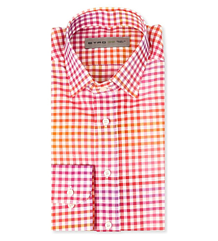 ETRO Two-toned checked regular-fit single-cuff shirt (Orange