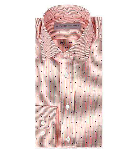 ETRO Striped regular-fit single-cuff shirt (Orange