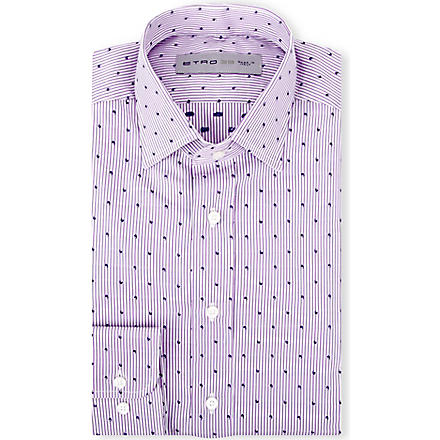 ETRO Striped regular-fit single-cuff shirt (Purple