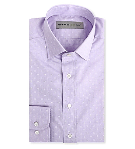 ETRO Patterned slim-fit cotton shirt (Purple