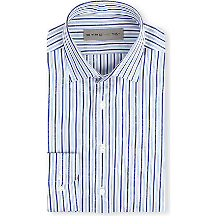 ETRO Striped paisley print shirt (Blue
