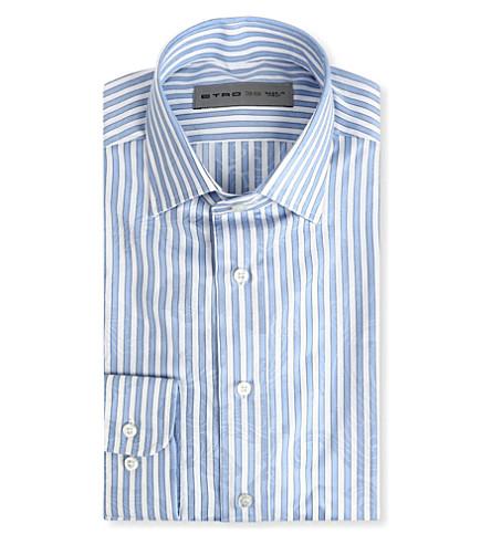 ETRO Striped paisley print shirt (Blue