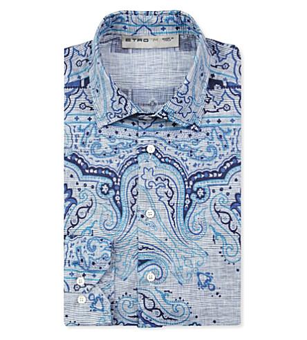 ETRO Paisley linen shirt (Blue