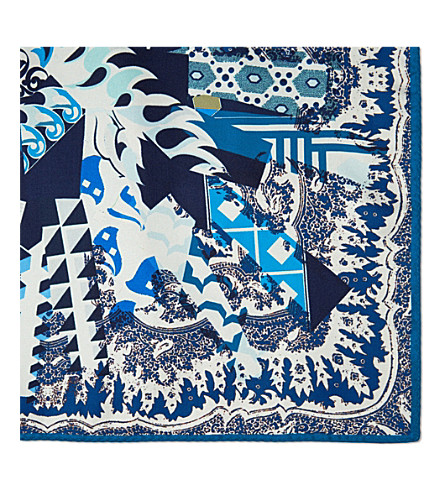 ETRO Paisley silk pocket square (Blue