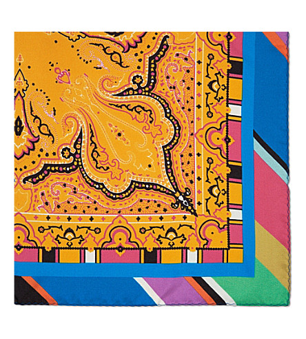 ETRO Paisley silk pocket square (Orange