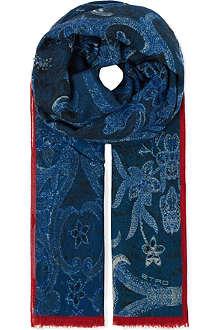 ETRO Indigo paisley scarf