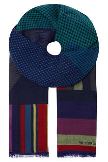 ETRO Striped geometric print scarf