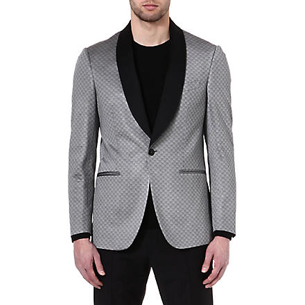 ETRO Patterned contrast-lapel jacket (Grey