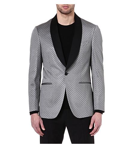 ETRO Patterned contrast-lapel jacket (Grey