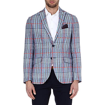 ETRO Dogtooth linen jacket (Blue
