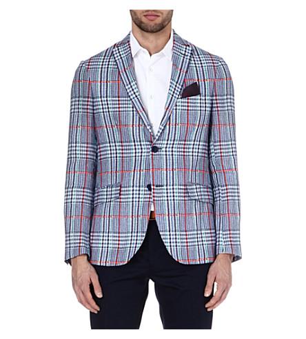ETRO Dogtooth linen jacket (Blue