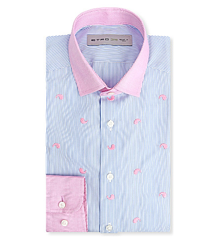 ETRO Paisley-embroidered regular-fit single-cuff shirt (Blue