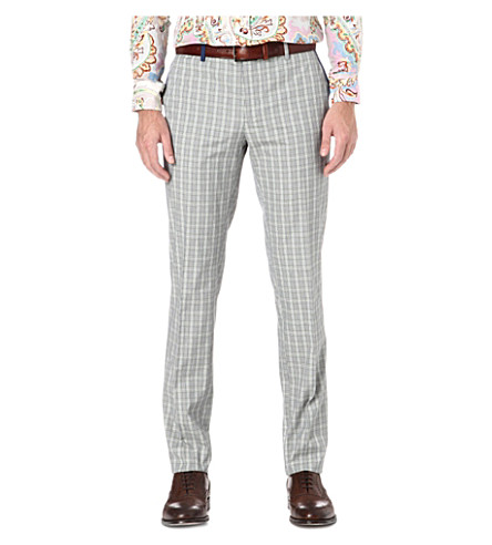 ETRO Checked cotton trousers (Green
