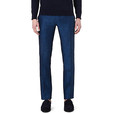ETRO Linen regular-fit trousers (Blue