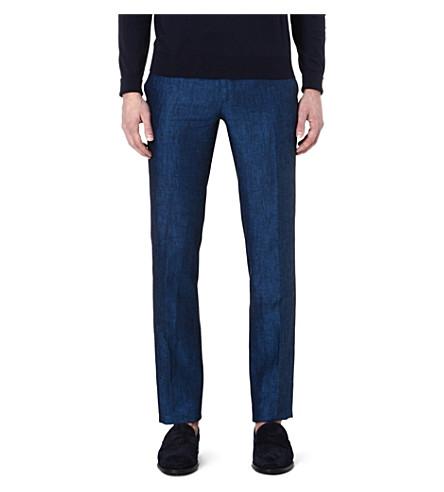 ETRO Linen regular-fit trousers (Blue