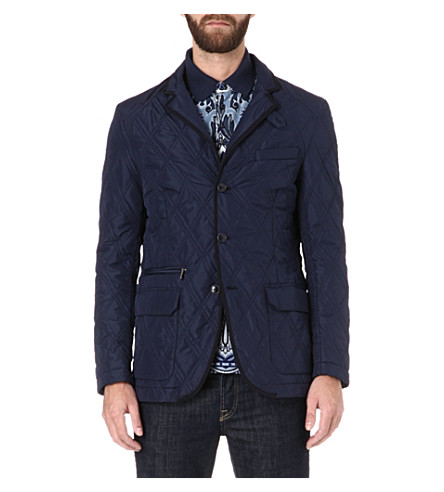 ETRO Quilted lambskin-trimmed jacket (Blue