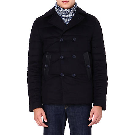 ETRO Leather-detail quilted jacket (Navy