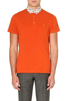 ETRO Printed-collar cotton polo shirt