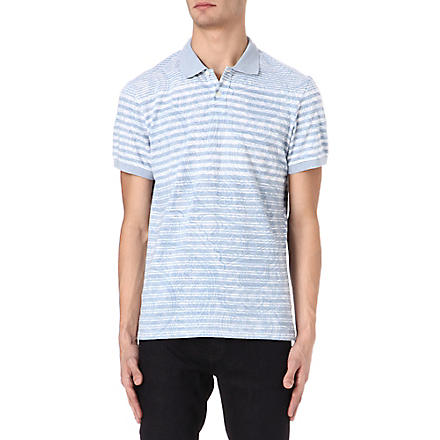 ETRO Striped paisley polo shirt (Blue