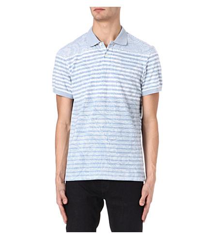 ETRO Striped paisley polo shirt (Blue