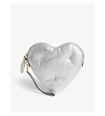 ANYA HINDMARCH Chubby heart metallic leather clutch (Silver
