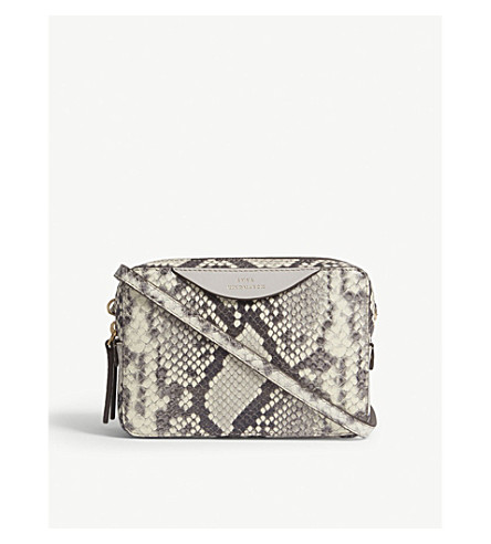 ANYA HINDMARCH The Stack leather double wallet-on-chain (Porcini+/+natural