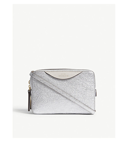 ANYA HINDMARCH The Stack leather double wallet-on-chain (Light+gold+/+silver