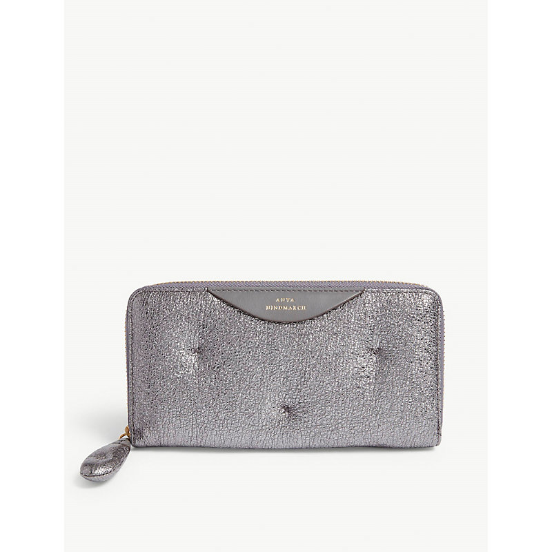ANYA HINDMARCH Chubby large metallic-leather zipper-around wallet