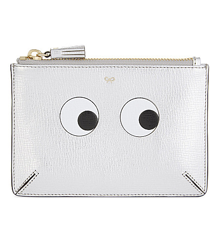 ANYA HINDMARCH Eyes small leather pouch (Silver