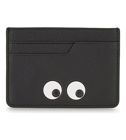 ANYA HINDMARCH Eyes grained leather card holder (Black
