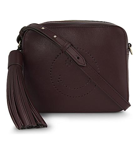 ANYA HINDMARCH Smiley leather cross-body bag (Burgundy