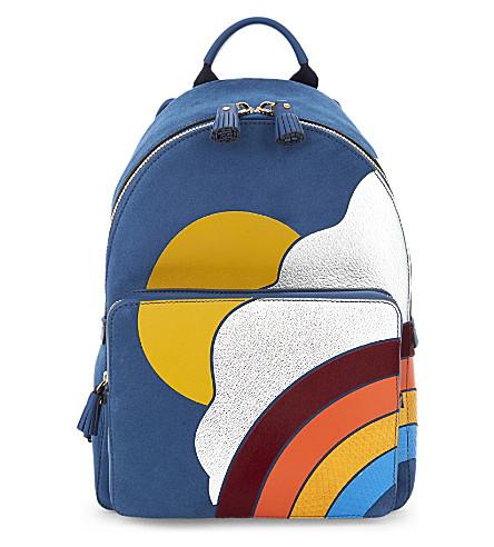 ANYA HINDMARCH Silver Cloud suede backpack (Raf blue