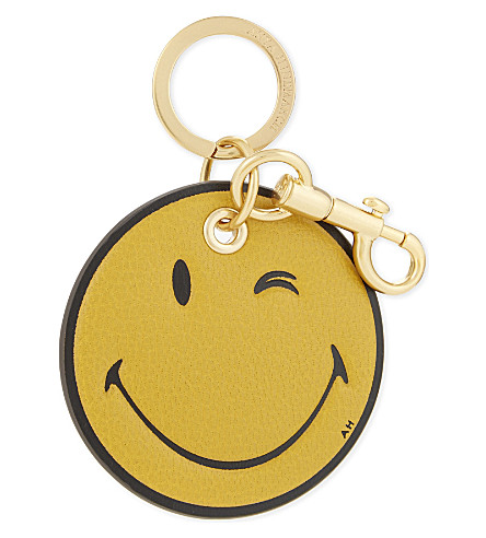ANYA HINDMARCH Smiley leather keyring (Mustard