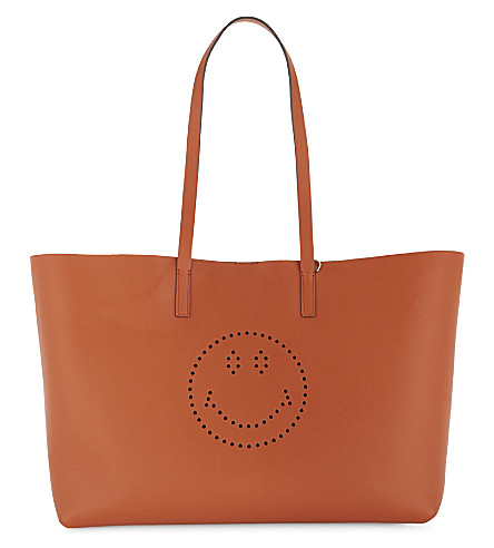 ANYA HINDMARCH Smiley face Ebury leather tote bag (Bespoke+orange