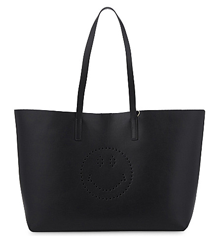 ANYA HINDMARCH Smiley face Ebury leather tote (Black