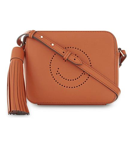 ANYA HINDMARCH Smiley face leather mini cross-body bag (Bespoke+orange