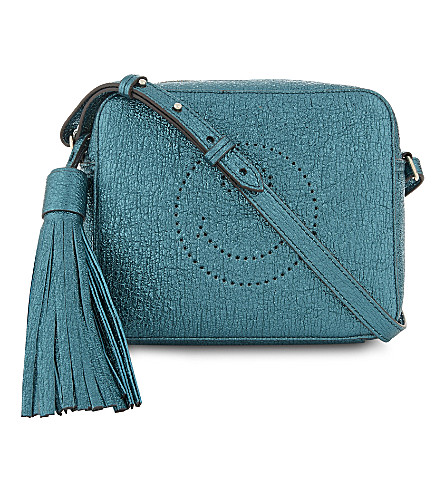 ANYA HINDMARCH Metallic leather smiley cross-body bag (Dark+teal