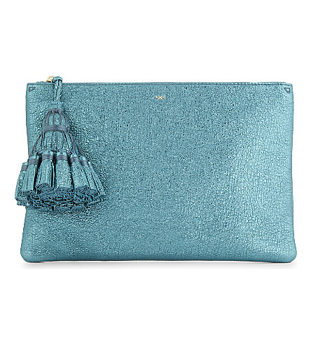 ANYA HINDMARCH Georgiana crinkled metallic leather pouch (Dark+teal