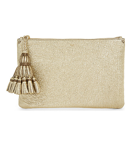 ANYA HINDMARCH Georgiana metallic finish pouch (Pale+gold