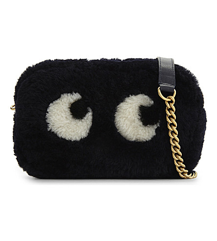 ANYA HINDMARCH Eyes shearling mini cross-body bag (Ink