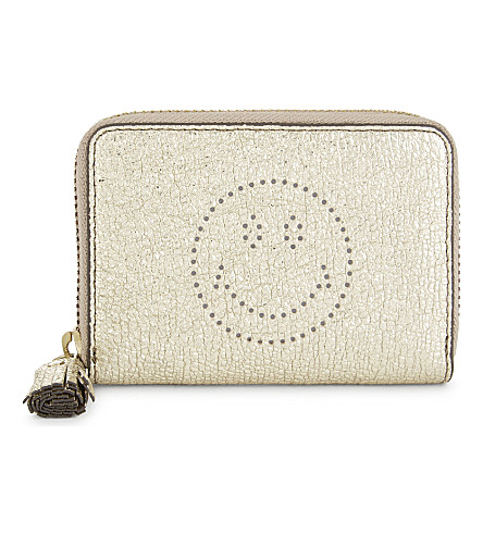 ANYA HINDMARCH Smiley small leather purse (Pale+gold