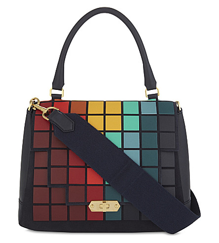 ANYA HINDMARCH Leather pixels Bathurst satchel bag (Marine