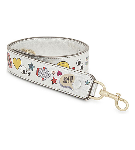 ANYA HINDMARCH Sticker leather bag strap (Silver