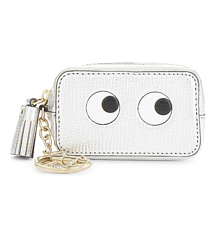 ANYA HINDMARCH Metallic finish leather coin purse (Silver