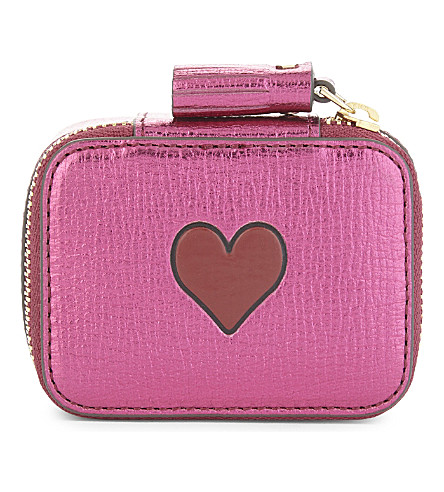ANYA HINDMARCH Heart motif small leather keepsake box (Pink